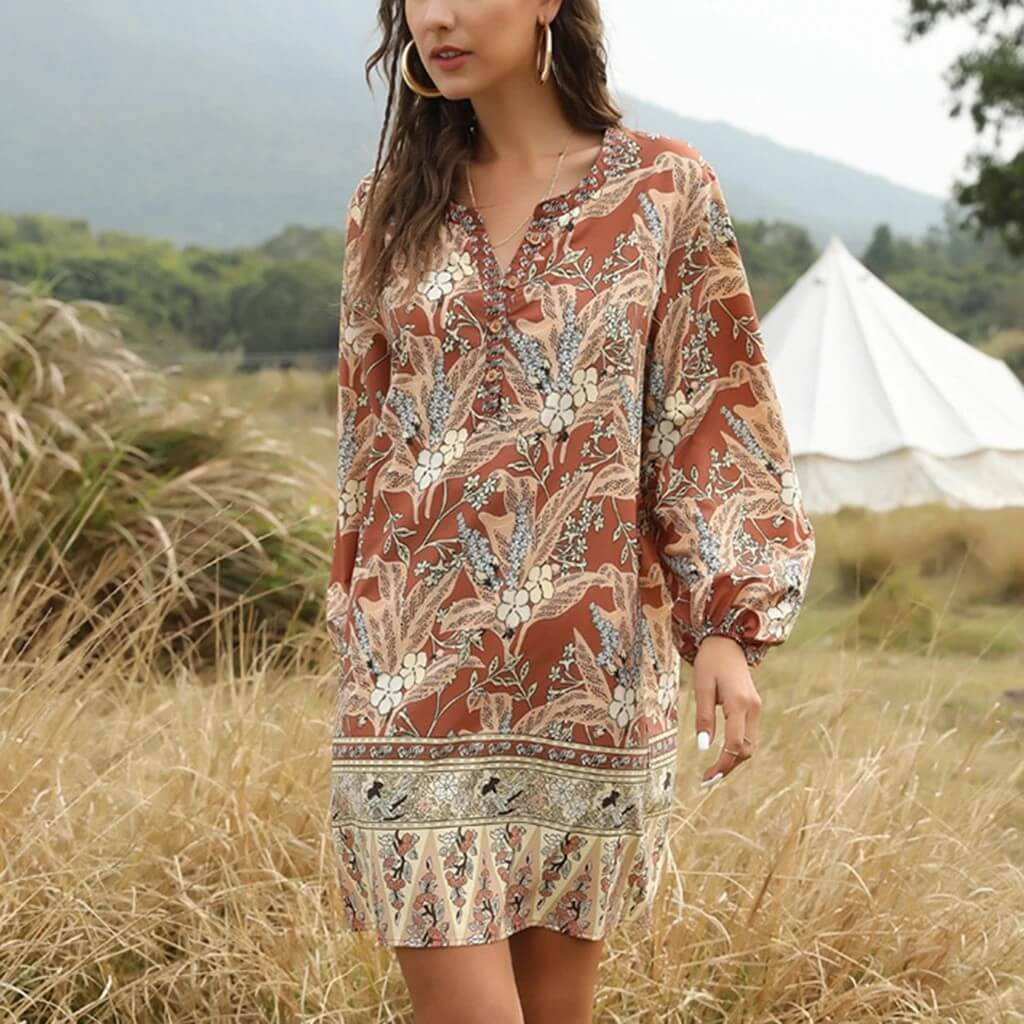 bohemian v-neck casual print dress