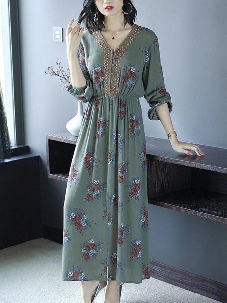 long sleeve printed base maxi dress